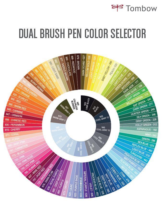 Free Printables Tombow Dual Brush Pen Colors Chart
