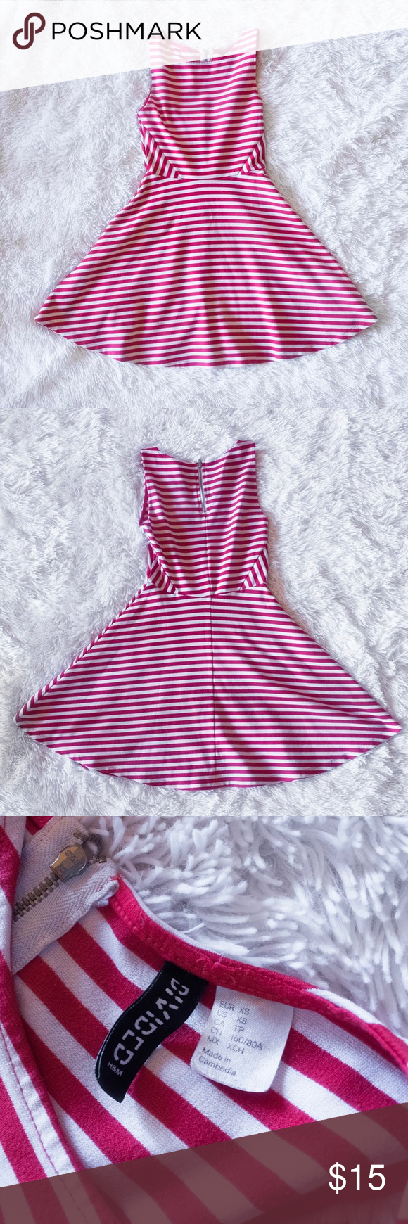 7a4ad15ae7 H M Red Striped Skater Dress XS - H M Divided XS - Red and white stripes -  Zipper in the back - Great condition H M Dresses Mini