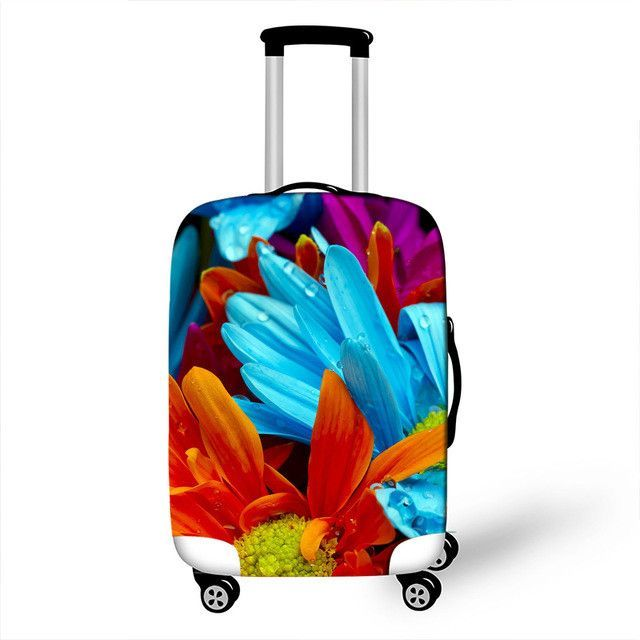 3D Beautiful Flowers Print Luggage Protector Travel Luggage Cover Trolley Case Protective Cover Fits 18-32 Inch