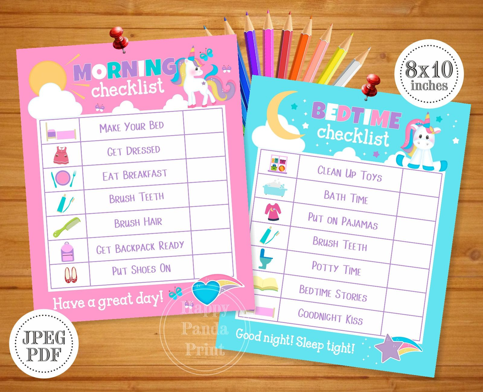 Morning And Bedtime Checklist Printable Unicorn Girl