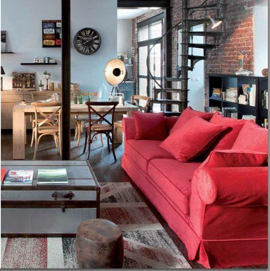 quelle peinture quelle couleur autour d 39 un canap rouge loft style indus pinterest. Black Bedroom Furniture Sets. Home Design Ideas