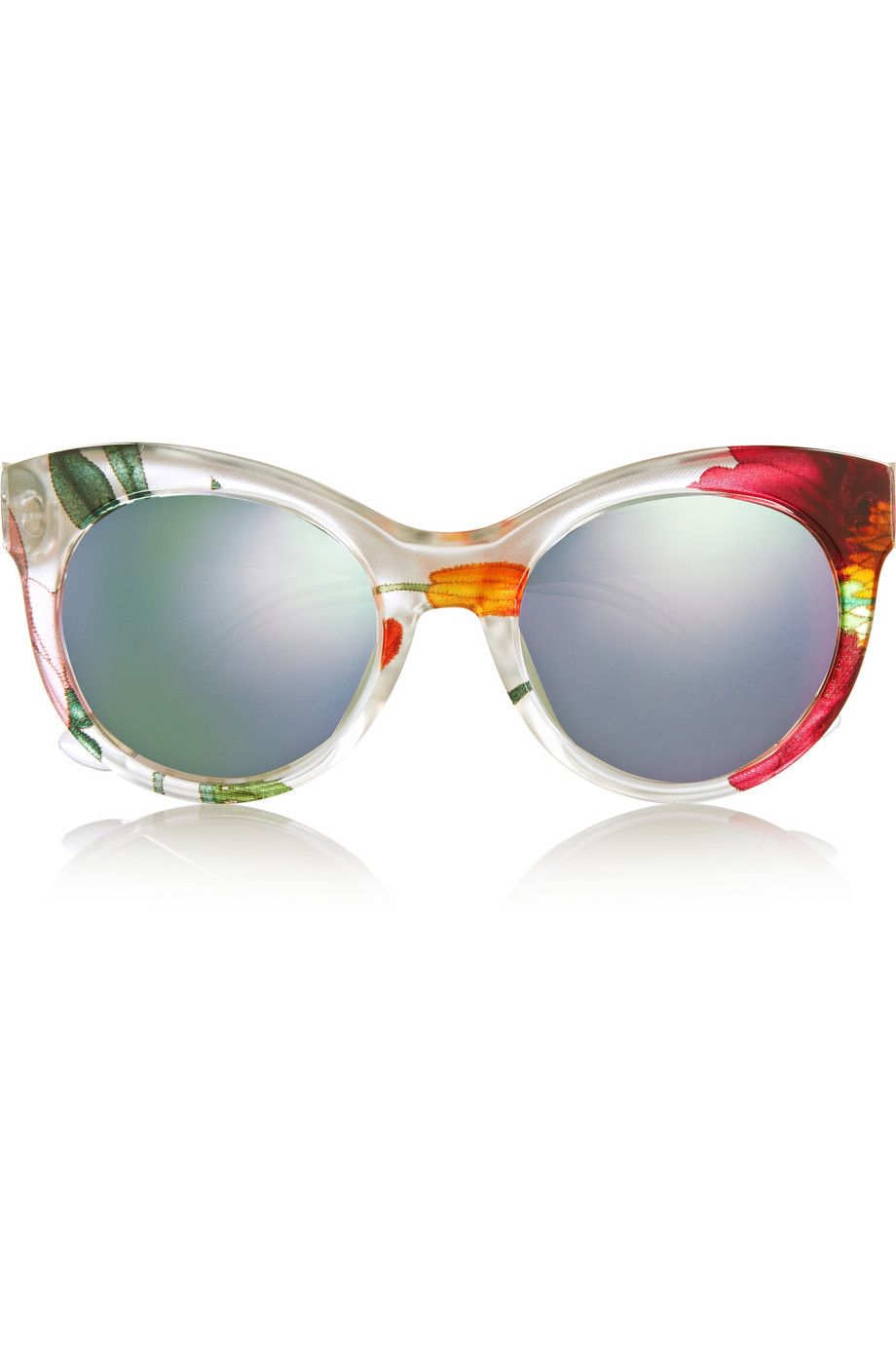 Gucci - Cat-eye printed acetate and metal mirrored sunglasses