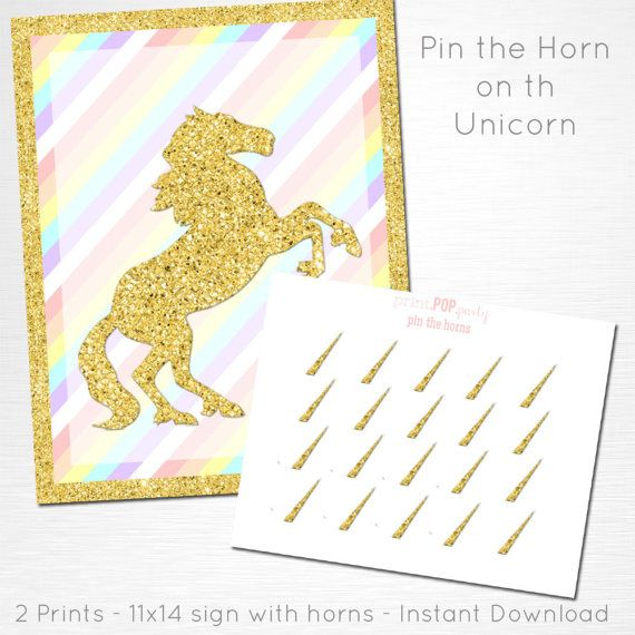 Unicorn Party Game - Pin the Horn on the Unicorn Birthday Party Printable Game YOU Print Pastel Pink Gold  INSTANT DOWNLOAD READY UPON COMPLETION OF PURCHASE  Please convo us if youd like to customize the text/graphic!  This sign is formatted to print 11x14, the horns are print on an 8x10 unless otherwise requested. This listing does not include color changes or verbiage tweaks, if youre interested in tweaking the design please convo us before purchase. We can create an entire party to c...
