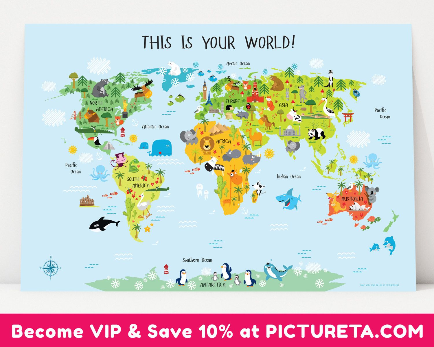 Unique baby gift childrens world map poster nursery by pictureta unique baby gift childrens world map poster nursery by pictureta gumiabroncs Gallery