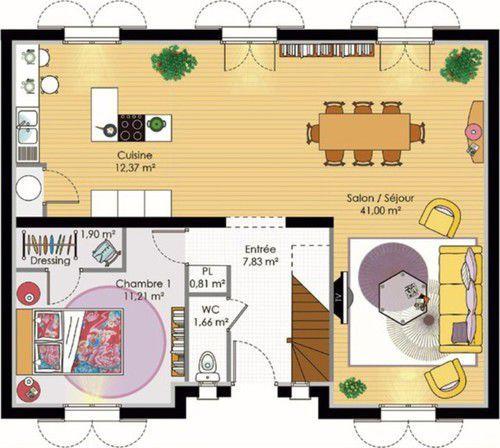 Plan maison meublé - Maison pour budget moyen Maison Pinterest