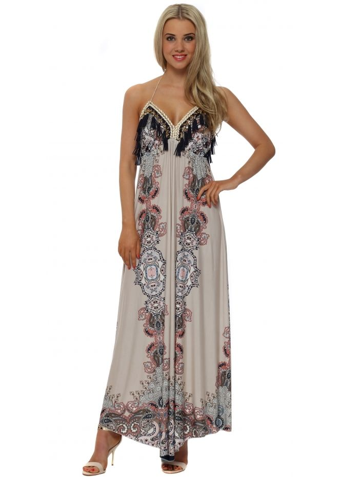 20ef7820a0a4 LAURIE   JOE Blush Paisley Print Halterneck Maxi Dress