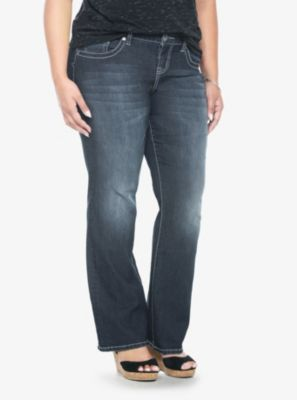 These look promising... and not too pricey either! (Torrid Denim - Dark Wash Embellished Back Pockets Relaxed Boot Jeans)