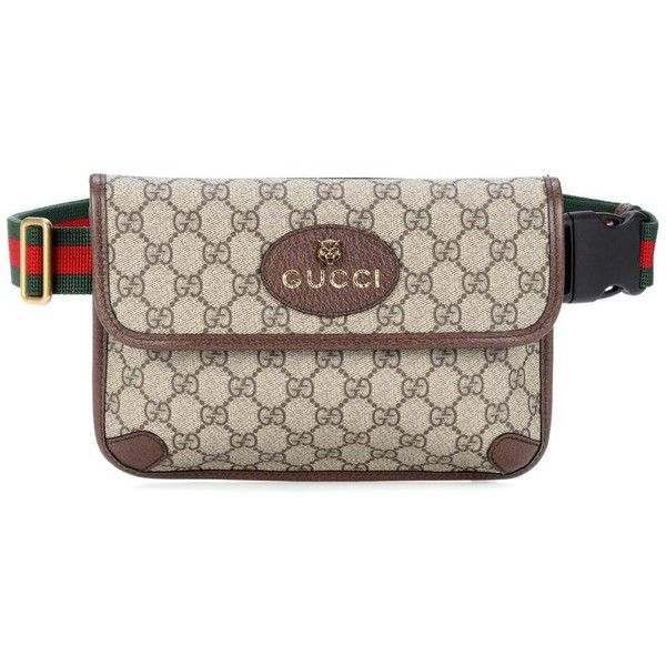 81af824d8ca6 Leather-trimmed belt bag Gucci ($700) ❤ liked on Polyvore featuring bags,  stripe bag, gucci, gucci fanny pack, waist bag and fanny bag