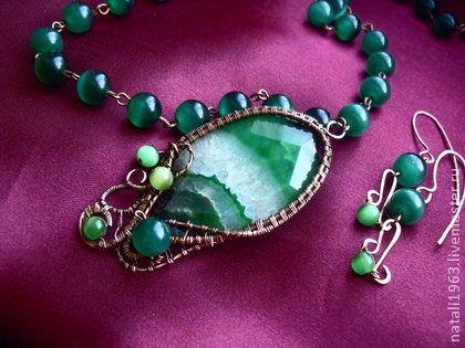 """Купить авторский кулон """"Сказка в сердце леса"""" - ярко-зелёный, авторские украшения"""