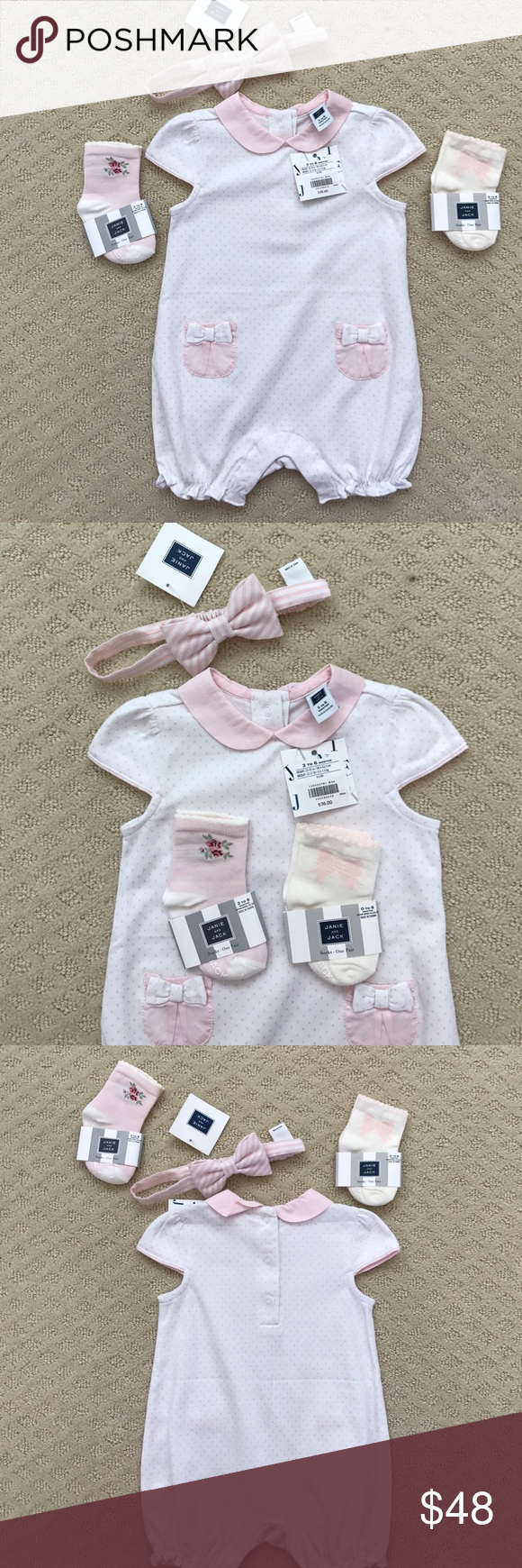 NWT Janie and Jack Baby Girl Set Brand new with tags! Adorable baby girls set includes romper size 3-6 months, headband one size, and 2 sets of matching socks. Makes the perfect gift! I prefer to sell as a set but will consider selling pieces individually. Bundle & save! Janie and Jack Matching Sets
