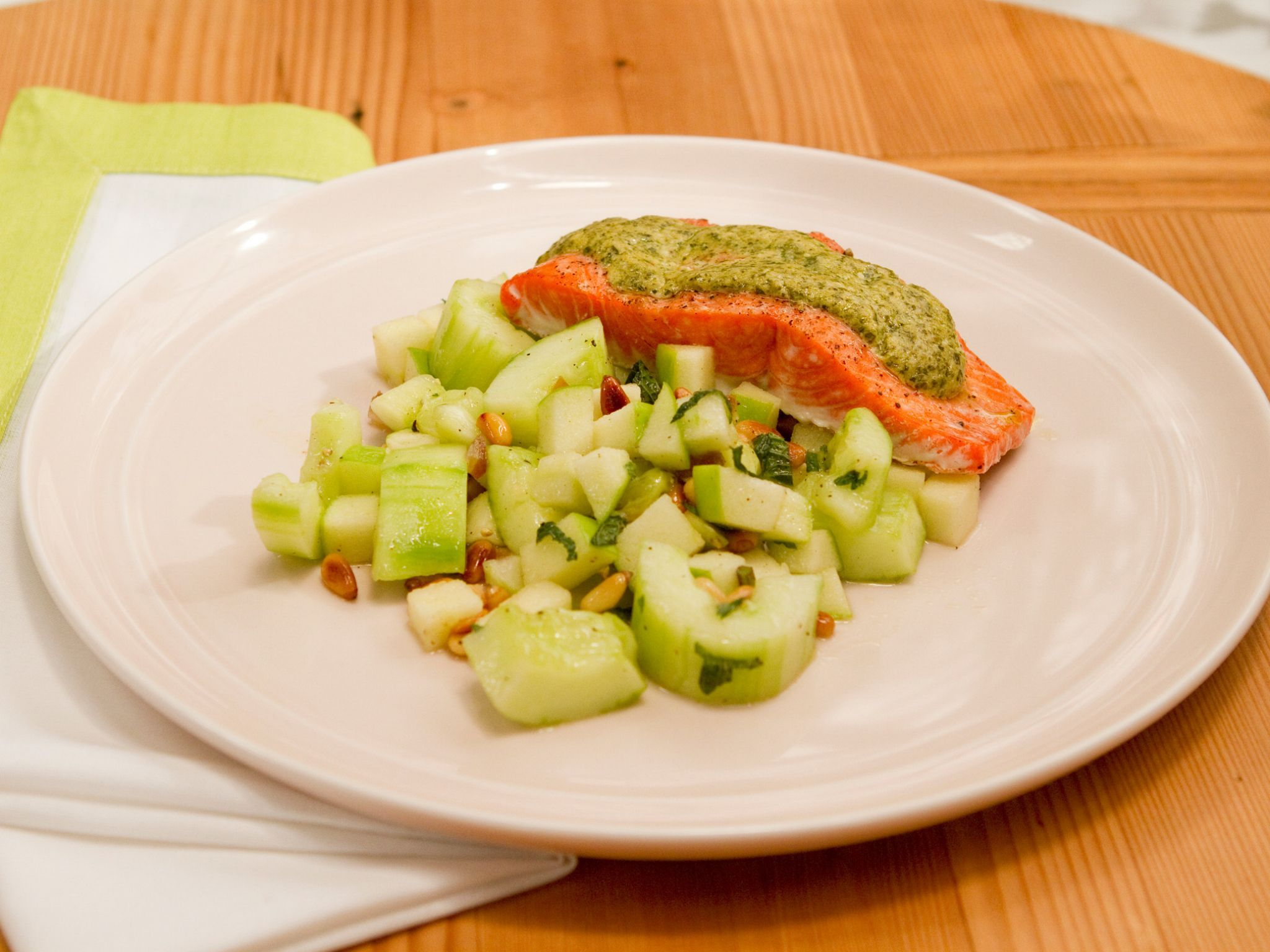 Pestorubbed Baked Salmon With Smashed Cucumber And Green Apple Salad Recipe  From Geoffrey Zakarian
