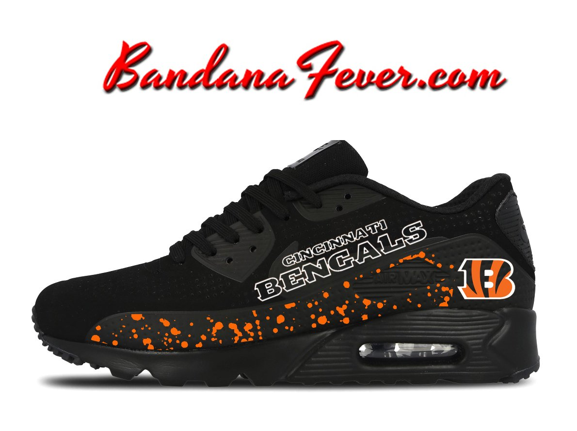 new product 8c9d4 6001d Custom Bengals Nike Air Max 90 Shoes Ultra Black,  whodey,  bengals,  airmax,  by Bandana Fever  sports  nikeshoes  nikeair  love  running  football  Shoes  ...