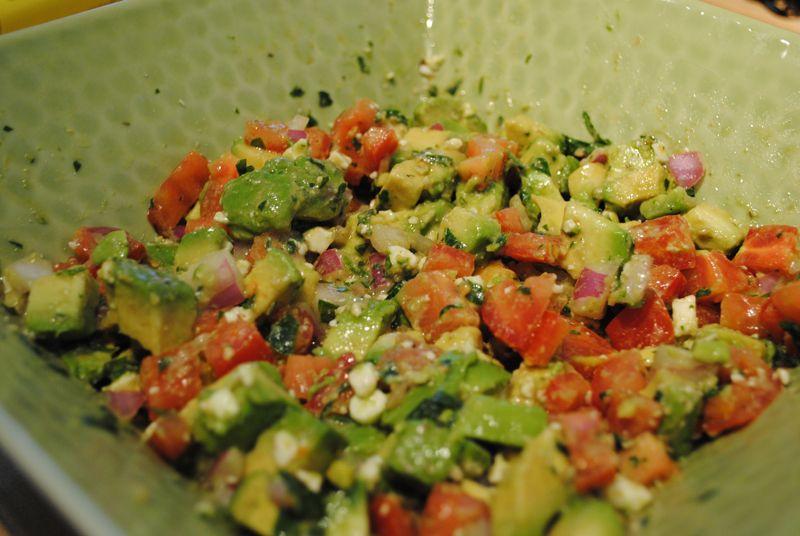 Baubles and Cocktails- Feta Avocado Tomato Salsa