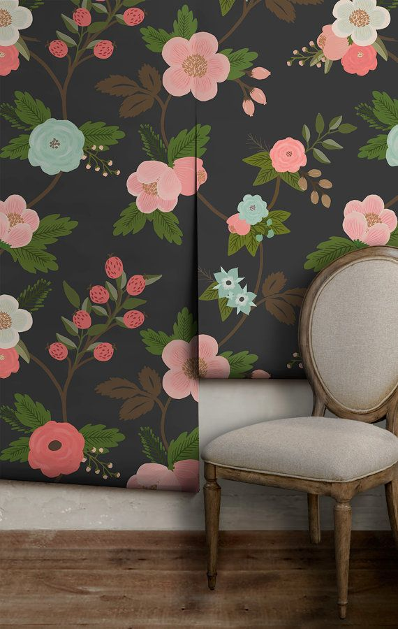 Flora Easy To Apply Removable Peel N Stick Wallpaper Etsy Peel N Stick Wallpaper Removable Wallpaper Wallpaper