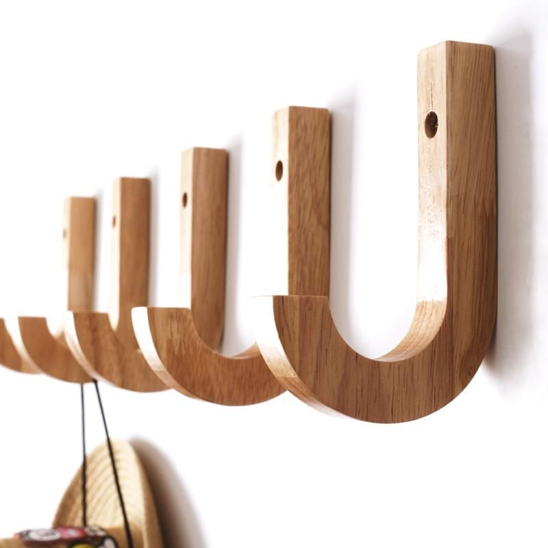 Modern Wood Coat Racks Wall Hanging Hook Hanger Decoration For Livingroom Kitchen Bedroom Storage Holders J Hook Coat Rack Wall Wall Hanger Wooden Coat Hooks