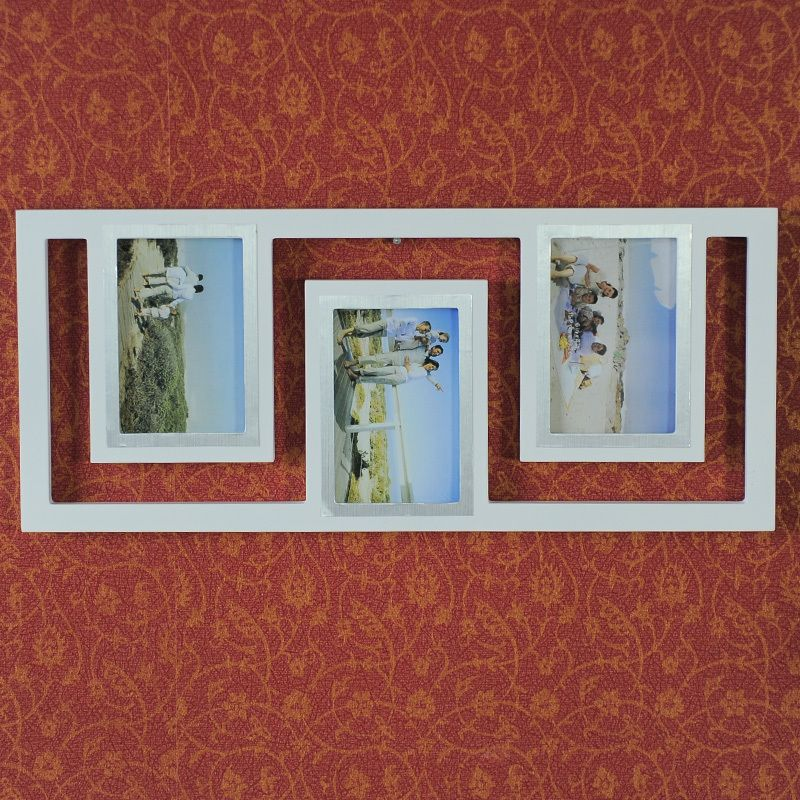 Details About 3 Opening Wooden Wall White Silver Collage Picture