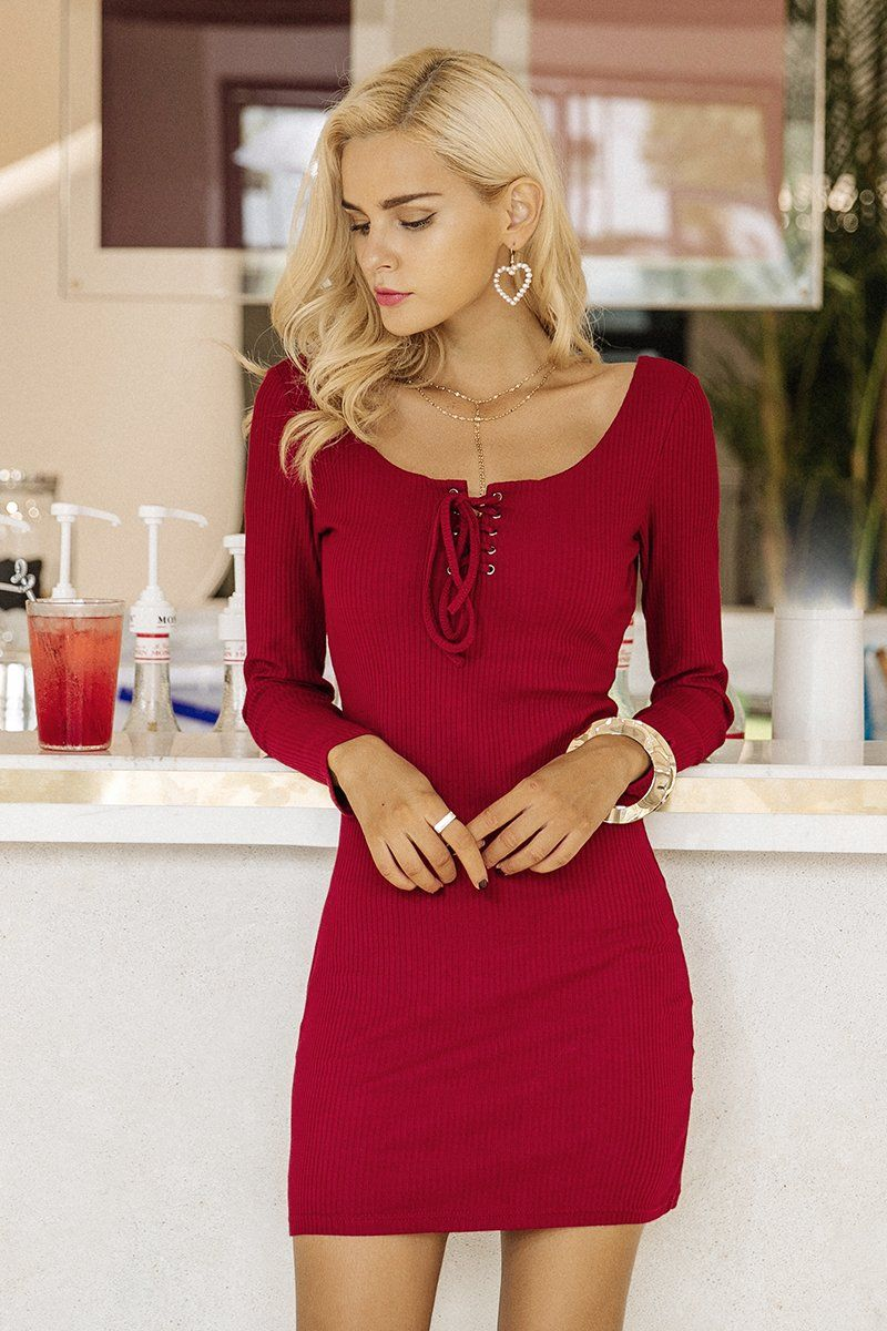 Basic Bodycon Ribbed Dress From Behindhemlines Com Women Bodycon Dress Long Sleeve Knit Dress Bodycon Dress Casual