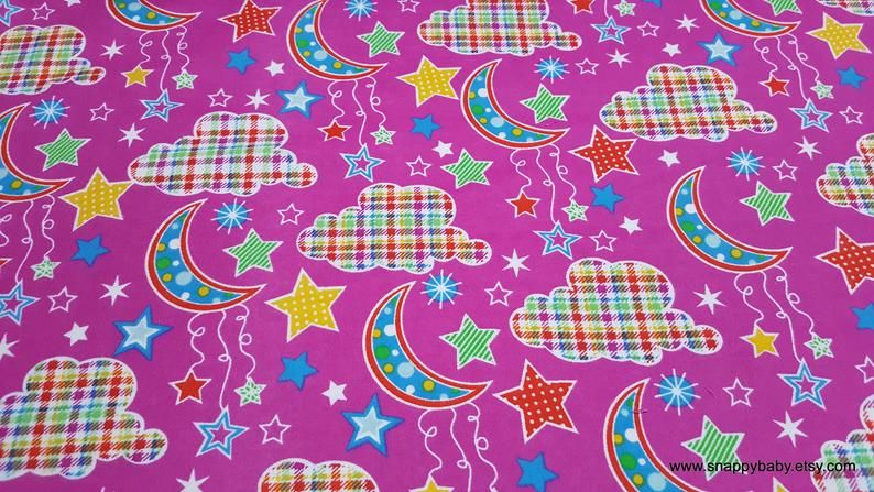 Flannel Fabric Dot Moon Fuschia By The Yard 100 Cotton Flannel Flannel Fabric Flannel Fabric Projects Fabric