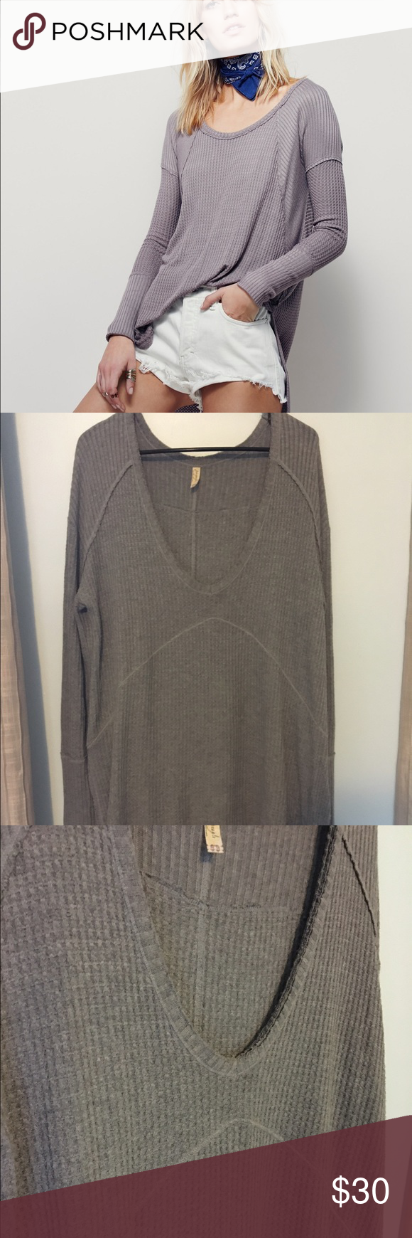 Free People Thermal Tunic Long sleeve grey thermal tunic by Free People, first photo is a photo by FP and a different color but same style. Free People Tops Tunics