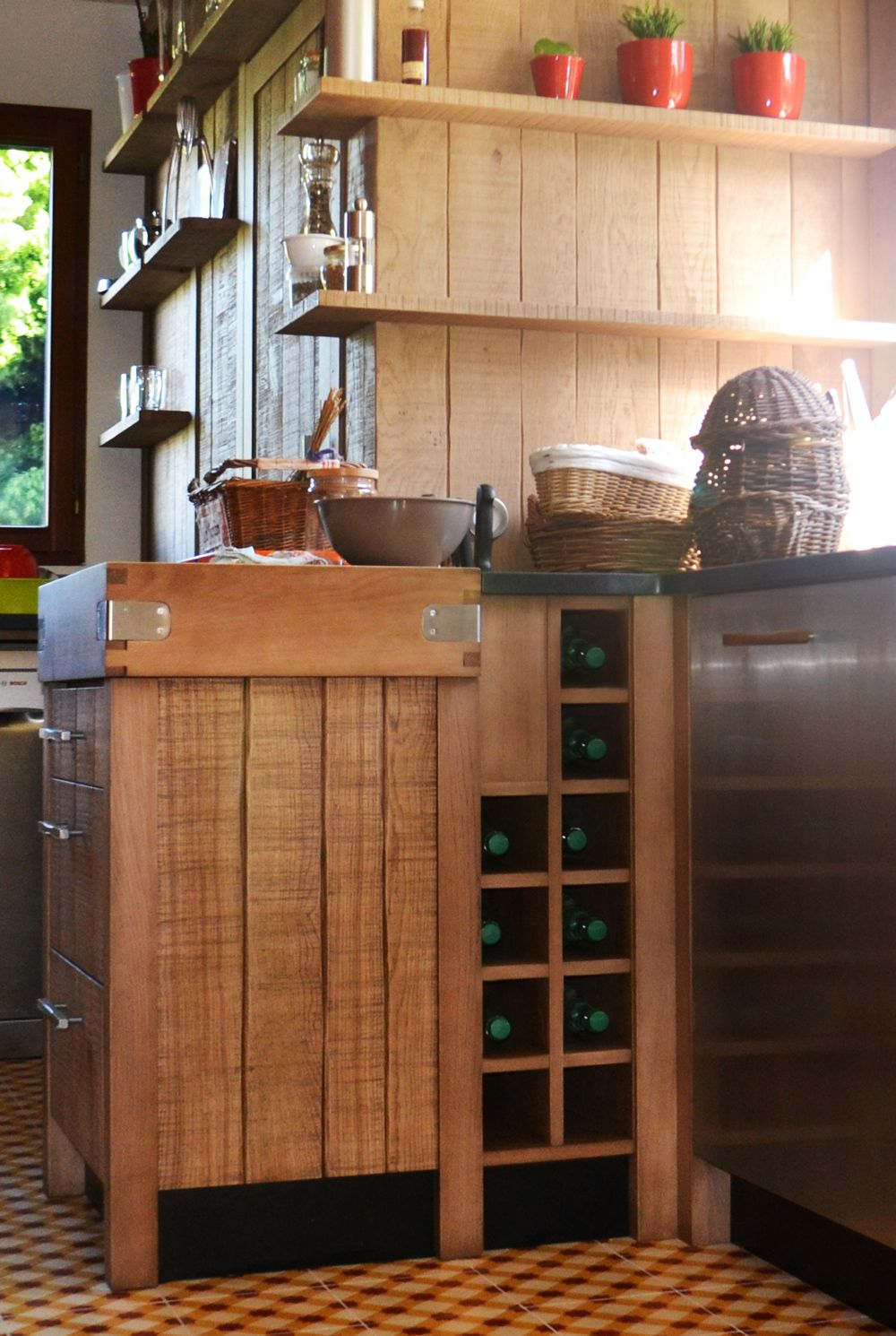Facade De Cuisine En Chene Massif un chaleureux atelier culinaire - cuisine chêne massif