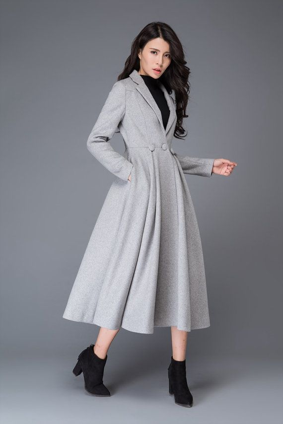 18adbd8b1e The Princess Coat is made of 50% wool blend, and made with light gray  polyester lining The long coat is Closed by the buttons. The wool coat has  Two side ...