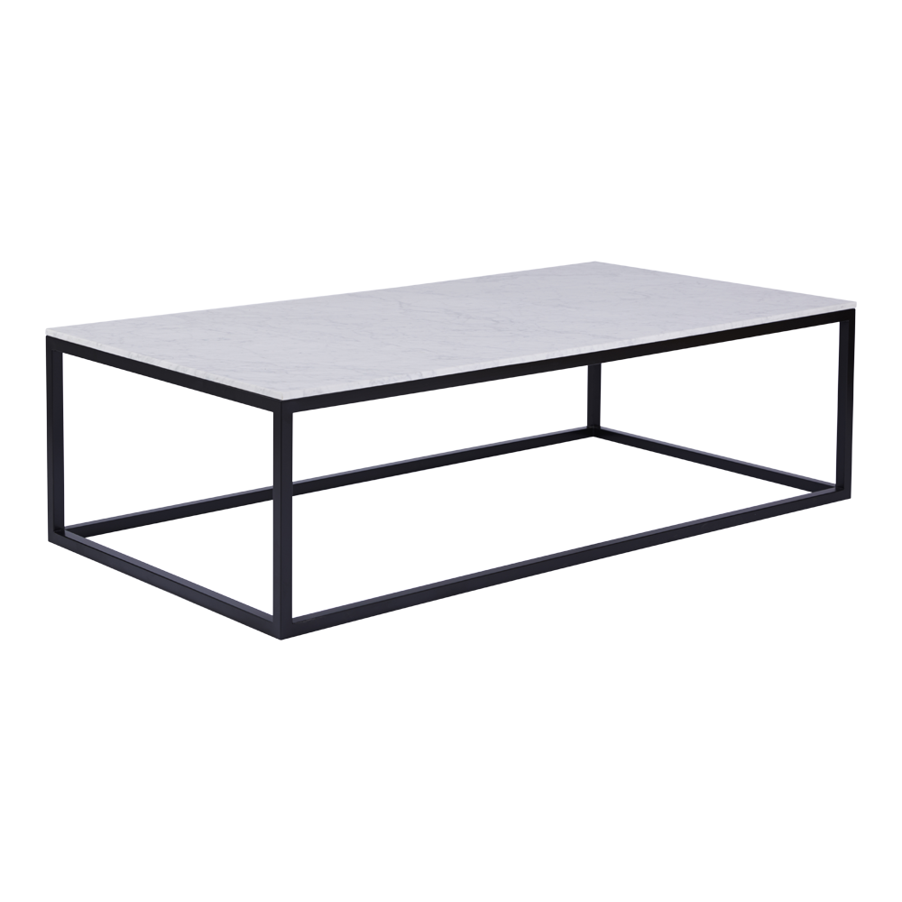 Modern Designer Marble Coffee Table Black Steel Metal Base Salon