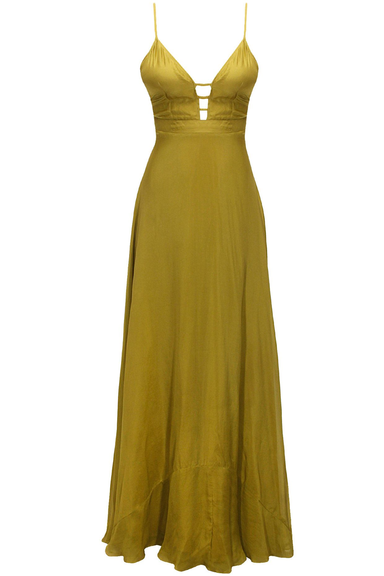 Olive green cut out long dress available only at Pernia's Pop-Up Shop.