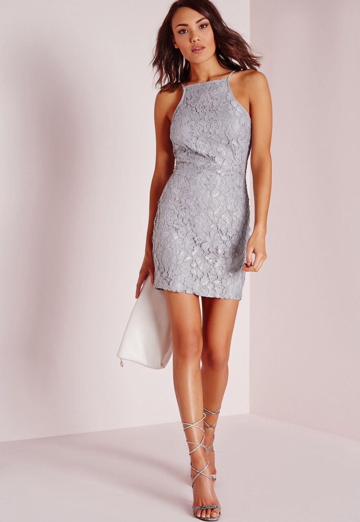 Missguided Lace Square Neck Bodycon Dress Grey Bodycon