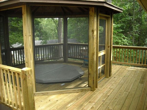 Custom Deck With A Screened Gazebo And Hot Tub Imagine The Fun