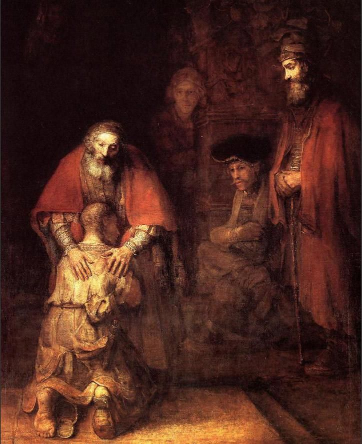 The prodigal son.  This is a painting by Rembrant (the great I should say). The  beauty of forgiveness for a wretched child and the love of a faithful father.