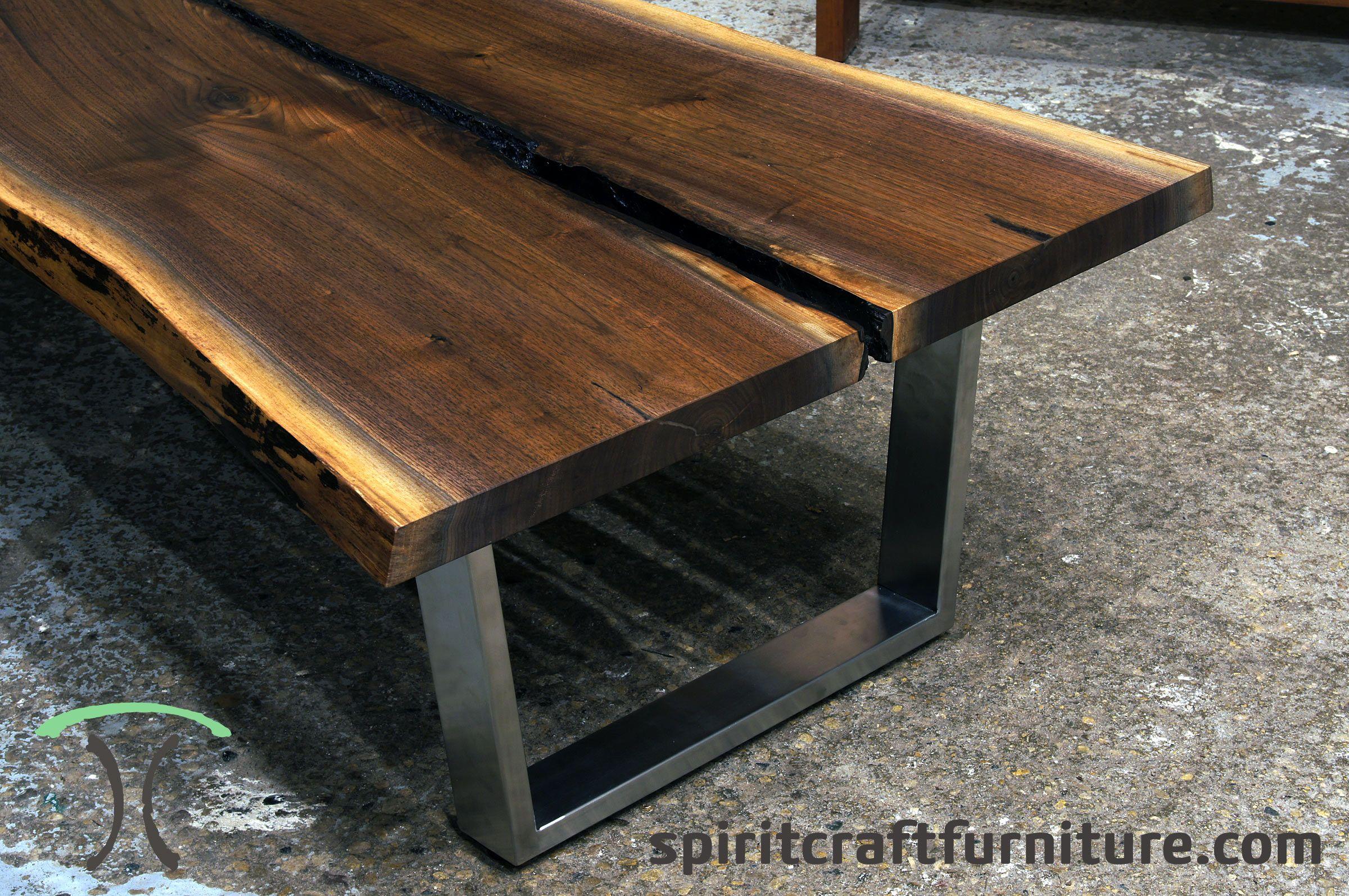 Black Walnut Live Edge Coffee Table on Stainless Steel ...