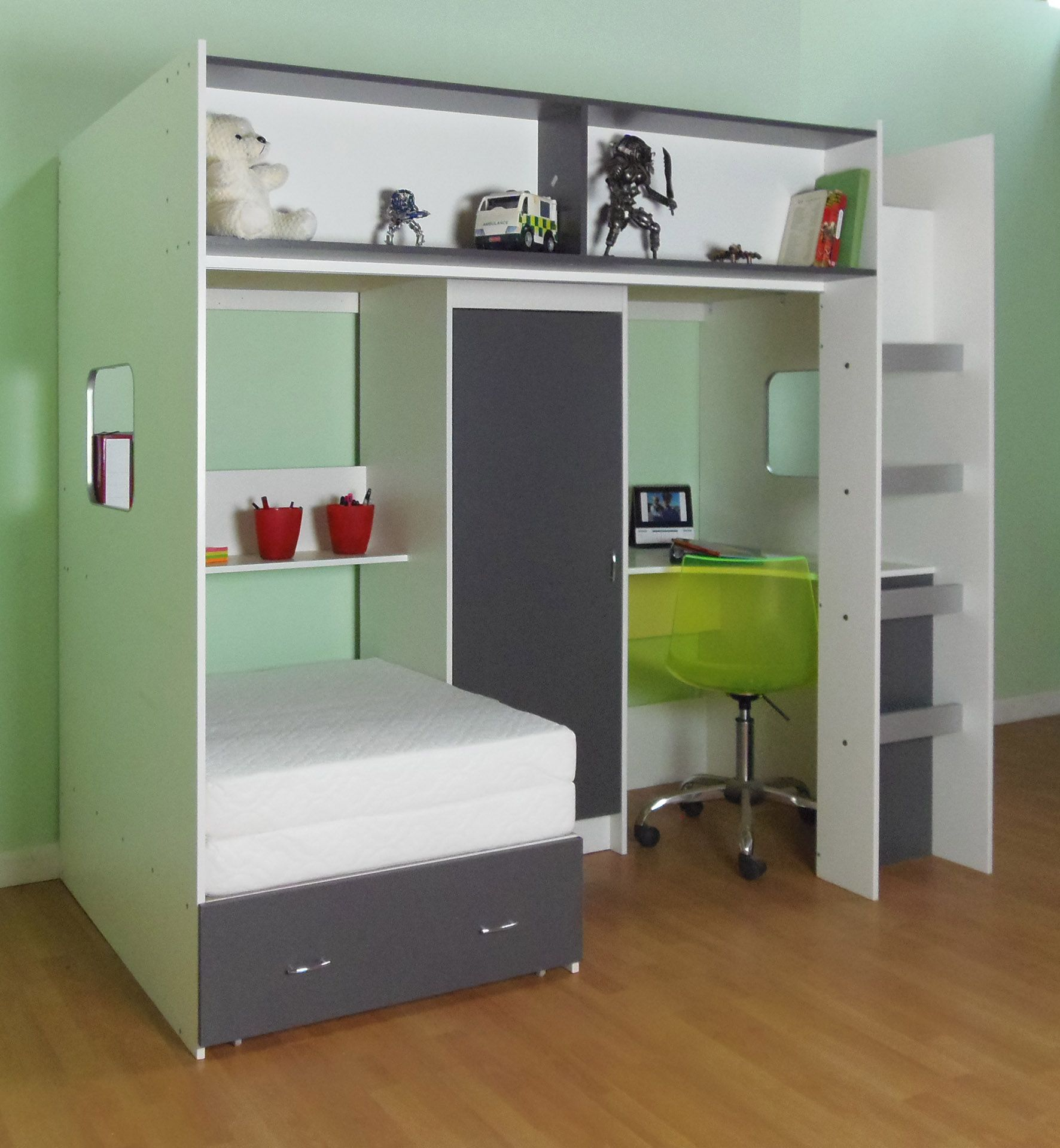 Calder High Sleeper Cabin Bed with Desk Wardrobe Drawers Shelving Many  colours