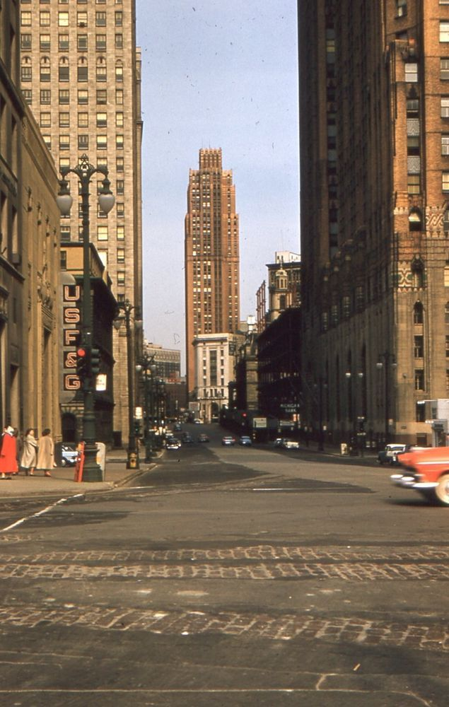 35 mm Color Slide Street View Detroit Michigan Old Cars ...