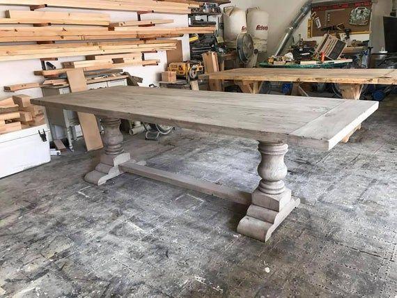 Solid Wood Handmade Pedestal Trestle Table Mesas Con Caballetes Modelos De Mesas Mesas De Comedor