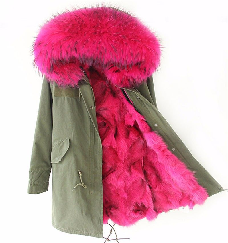 21136cd1642f6 Find More Parkas Information about Pink Fox fur Parka,long style fashion  winter fox fur jacket for ladies fox fur outwear,mulitcolor army green  women parka ...