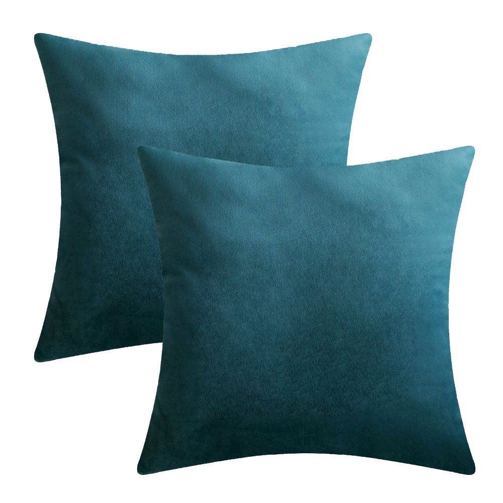 Lansa Microfiber Velvet Throw Pillow Covers Decorative Pillowcases Cushion Cover Soft And Smooth Solid Various Choices 22 Colors Blueb5 20 X Set Of 2