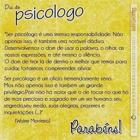 Parabéns à Todos Os Profissionais E Estudantes De Psicologia