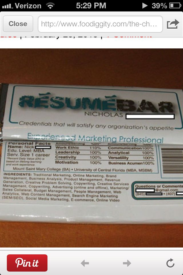 resume chocolate bar  haha