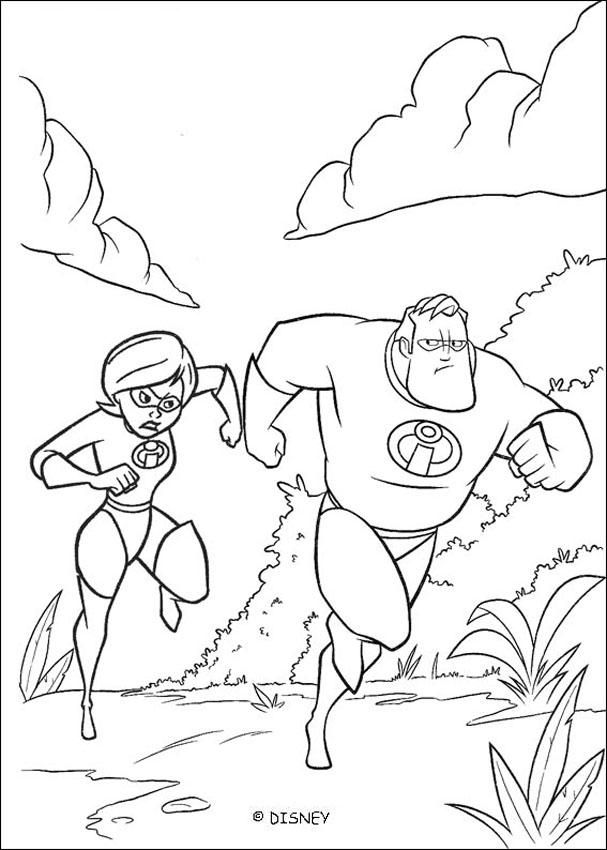 Mr Incredibles and Elastigirl running. A cool coloring