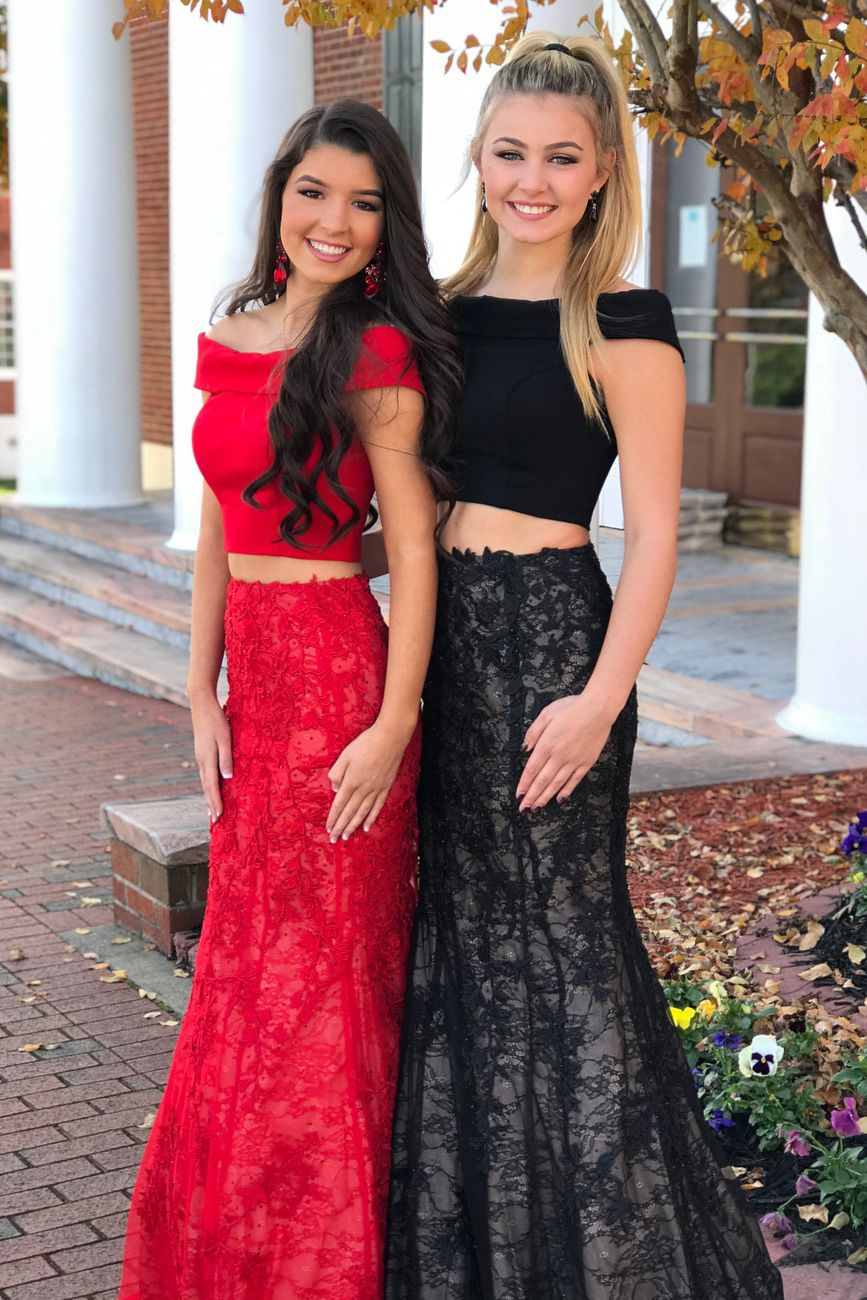 b5f5eea31fb3 Two Piece Off the Shoulder Red Mermaid Long Prom Dress | Cute Dance ...
