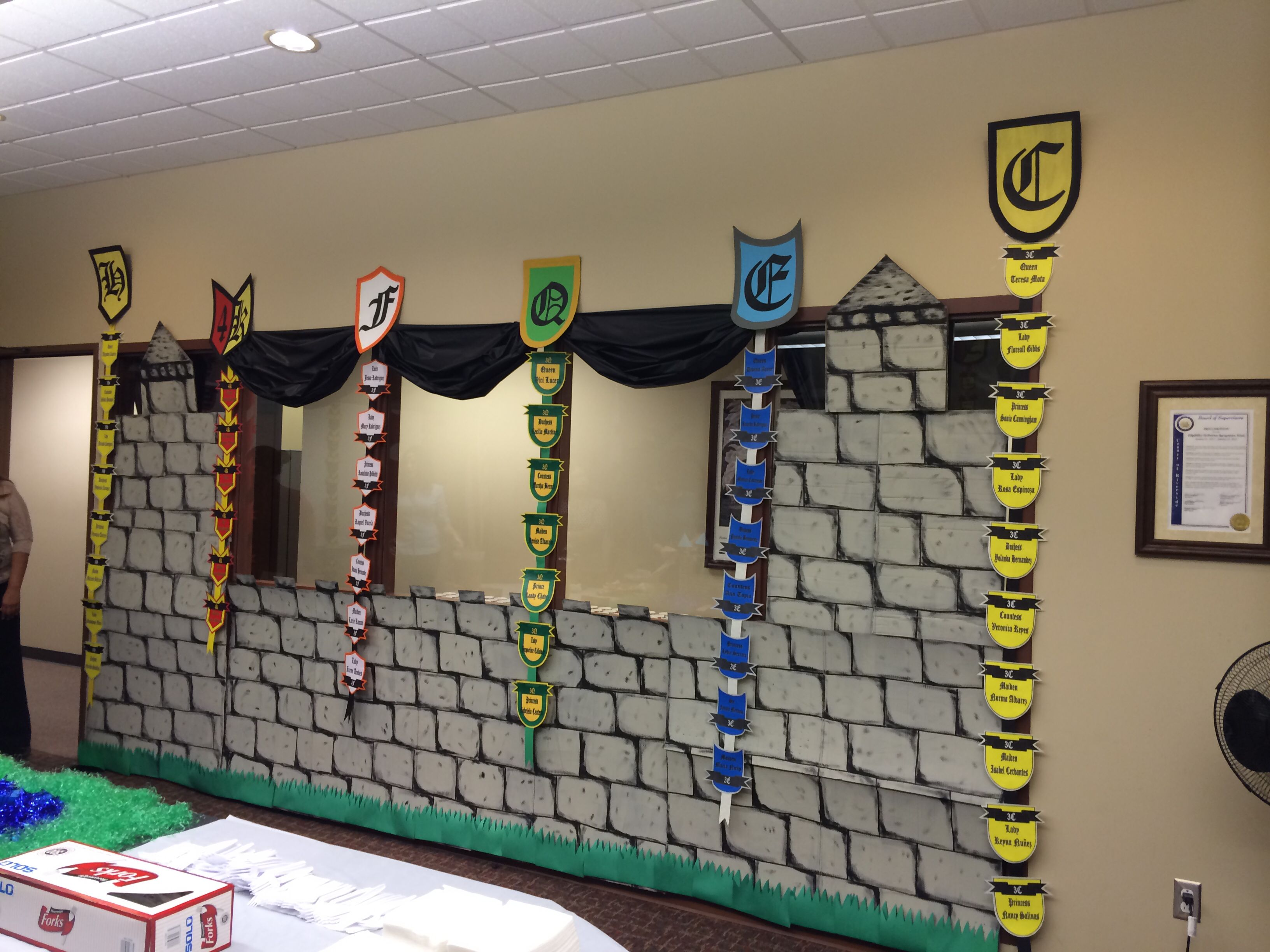Medieval Times Themed Decorations All For Books Wall Divided Into