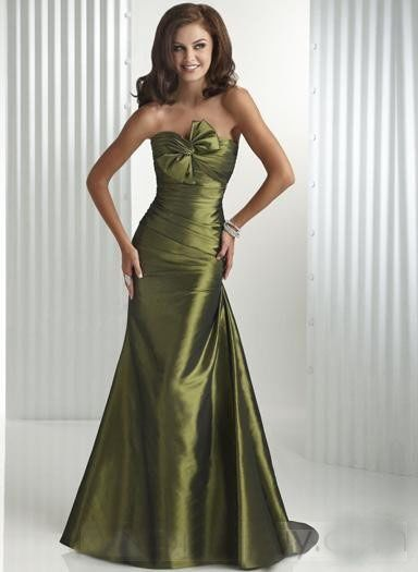 Buy Olive Green Trumpet Oblique Bowknot At Bust Evening Dressprom