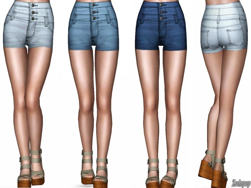 Zodapop S High Waist Three Button Shorts Sims 3 Cc Clothes Sims 3 Sims