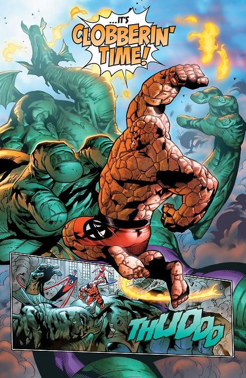 """""""IT'S CLOBBERIN' TIME!"""" in Fantastic Four #1   The Thing ..."""