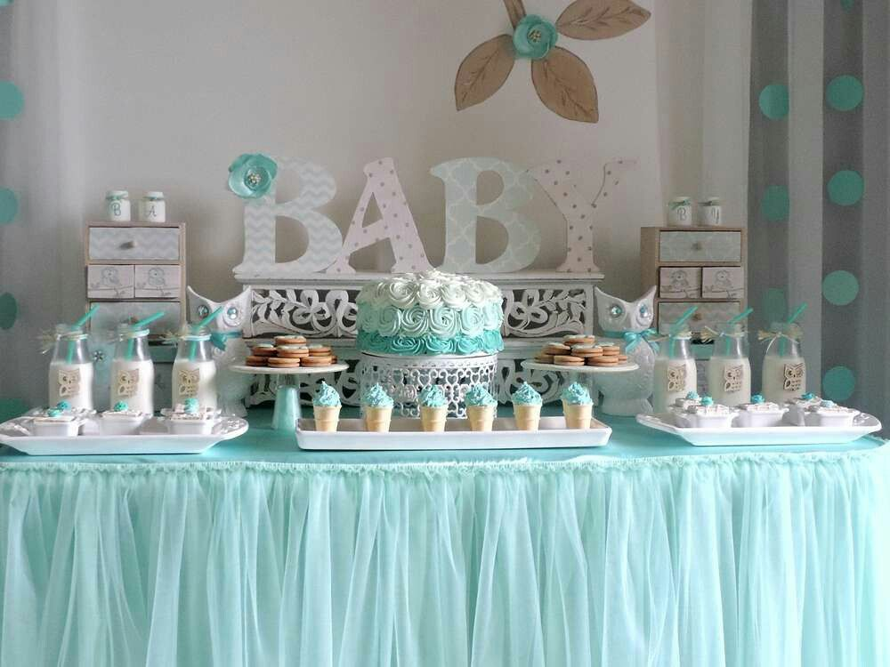 Baby Shower Boy favorite color theme is teal and gray