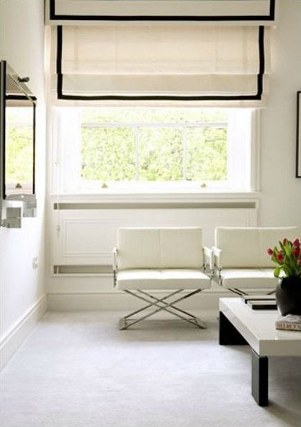 Living Room Window White Roman Shade With Plain Black