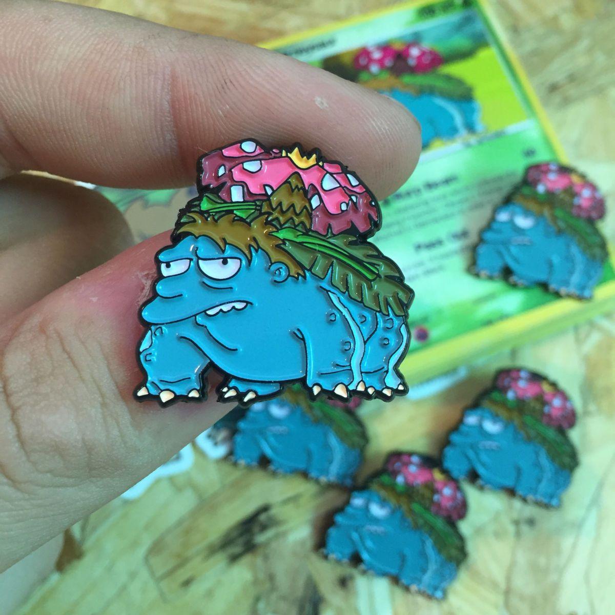 Barney x venusaur thumbs design pin badges pokemon