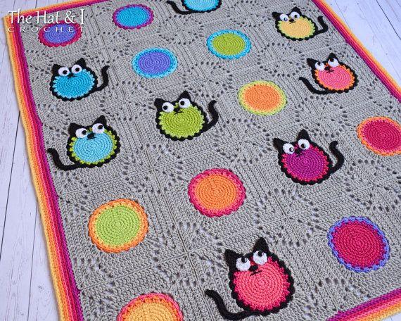 Crochet Blanket PATTERN - Cat Lover - crochet pattern for cat ...