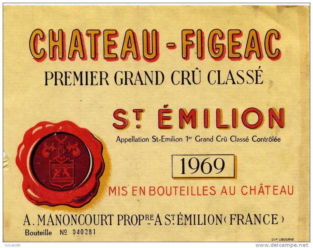 Top ETIQUETTE DE VIN / SAINT EMILION / CHATEAU FIGEAC 1969 / RARE  IN08