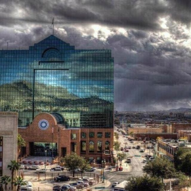 Downtown El Paso Texas On A Cloudy Day Beautiful Downtown El